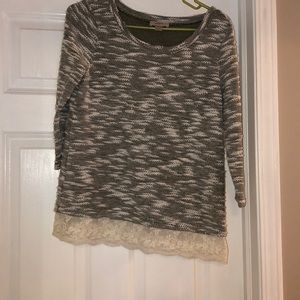 Cozy Sweater with Lace Detail Trim